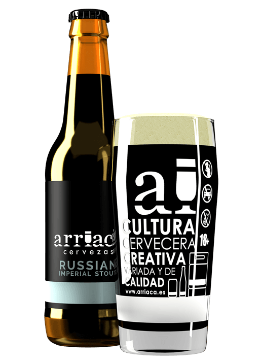Prueba la cerveza artesana IMPERIAL RUSSIAN STOUT Arriaca en botella