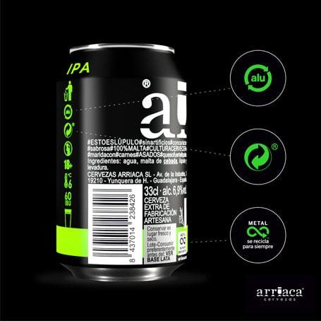 Las latas de la cerveza artesana Arriaca se puede reciclar  infinitamente