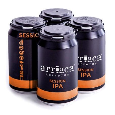 El four pack con el que recubrimos nuestro pack de 4 latas de cerveza artesana Arriaca procede de material reciclado al 100%